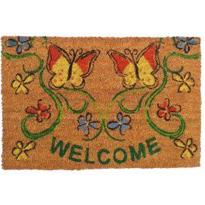 Festett kókusz lábtörlő 40x60 cm - Welcome pillangó mintával