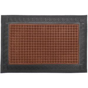 Gumis textil lábtörlő 40x60 cm - Barna színben görög mintával