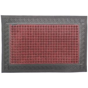 Gumis textil lábtörlő 40x60 cm - Bordó színben görög mintával