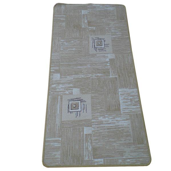 Szegett szőnyeg 60x120 cm - Világosbarna színebn kockás mintával