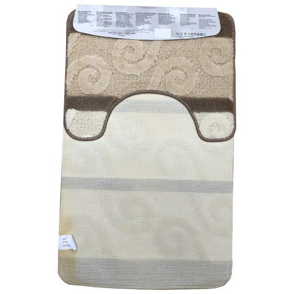2 részes fürdőszoba szőnyeg barna-beige színben, görög inda mintával - hátul