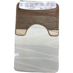2 részes fürdőszoba szőnyeg barna-beige színben, vonal mintával - hátul