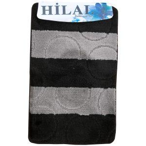 2 részes fürdőszoba szőnyeg fekete-szürke színben, nagy kör mintával - elöl