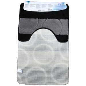 2 részes fürdőszoba szőnyeg fekete-szürke színben, nagy kör mintával - hátul