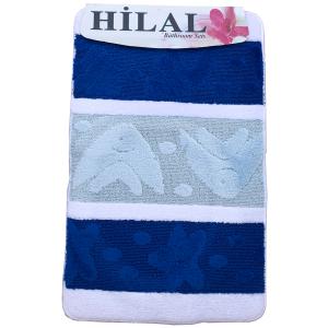 3 részes fürdőszoba szőnyeg kék-fehér színben, tengeri mintával - elöl
