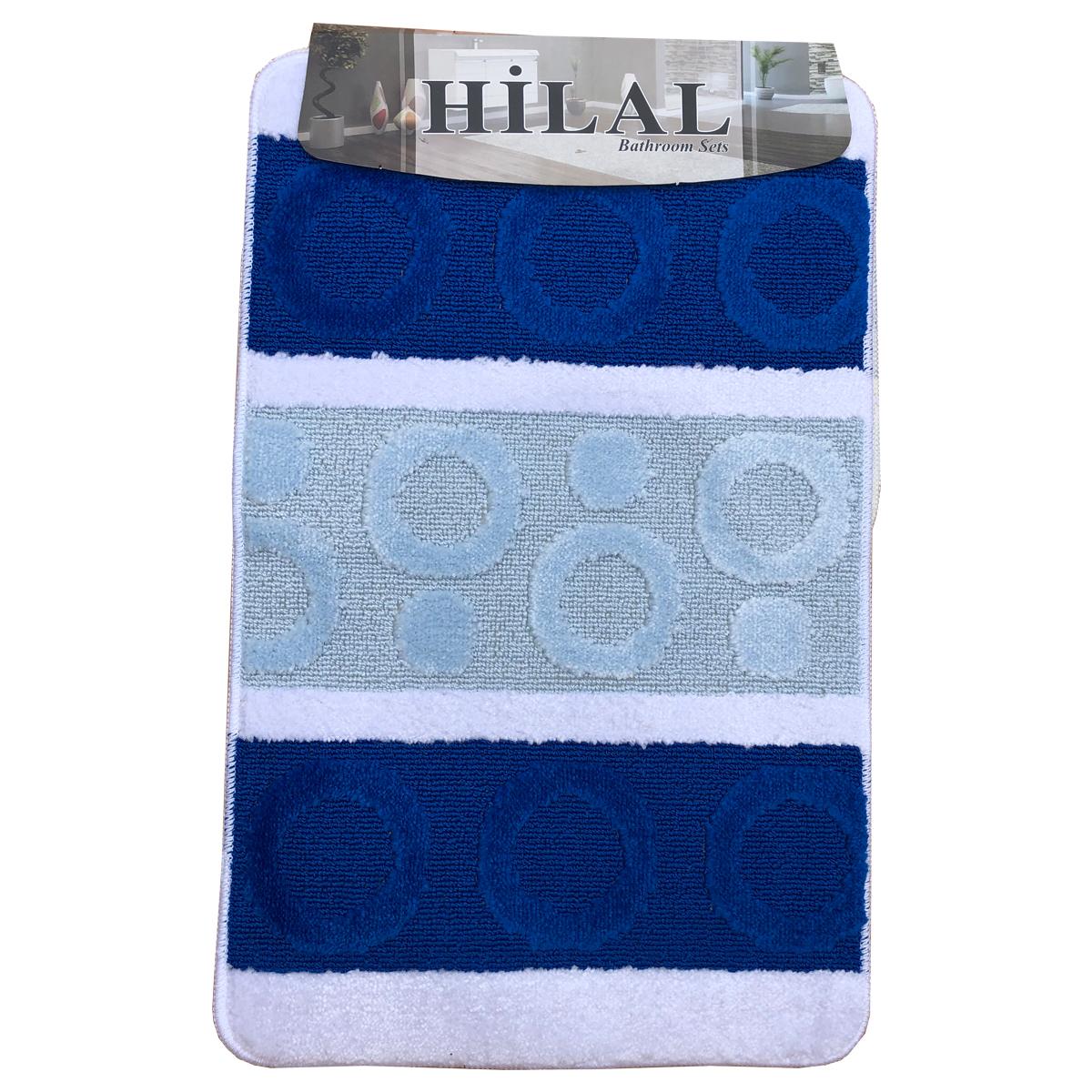 f2f62124cb Fürdőszoba szőnyeg 2db-os kék-fehér színben, kör mintával - elöl