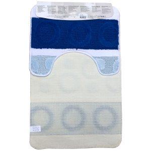 Fürdőszoba szőnyeg 2db-os kék-fehér színben, kör mintával - hátul