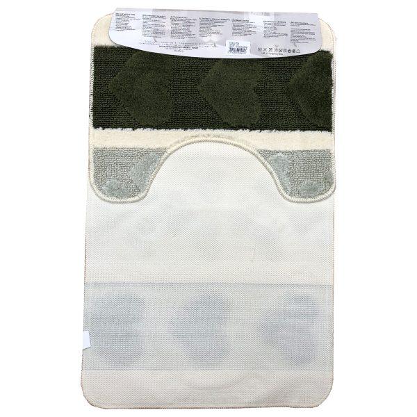 Fürdőszoba szőnyeg 2db-os zöld-fehér színben, szív mintával - elöl