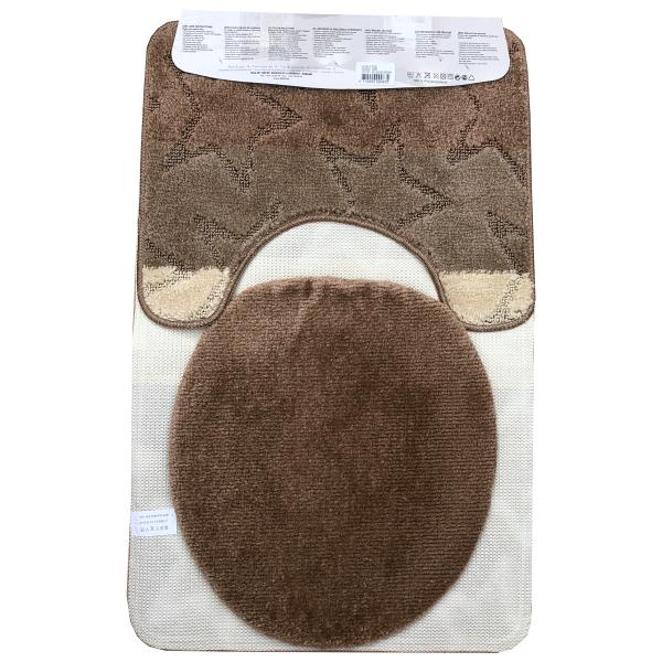 Fürdőszoba szőnyeg 3db-os barna-krém színben, görög inda mintával - hátul