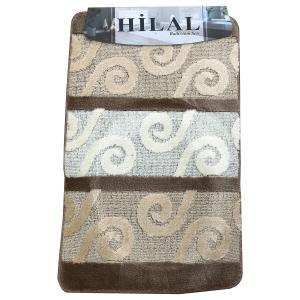 Fürdőszoba szőnyeg 3db-os barna-krém színben, görög inda mintával - elöl