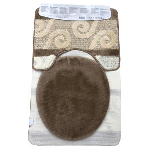 Fürdőszoba szőnyeg 3db-os barna-krém színben, görög inda mintával - hatul