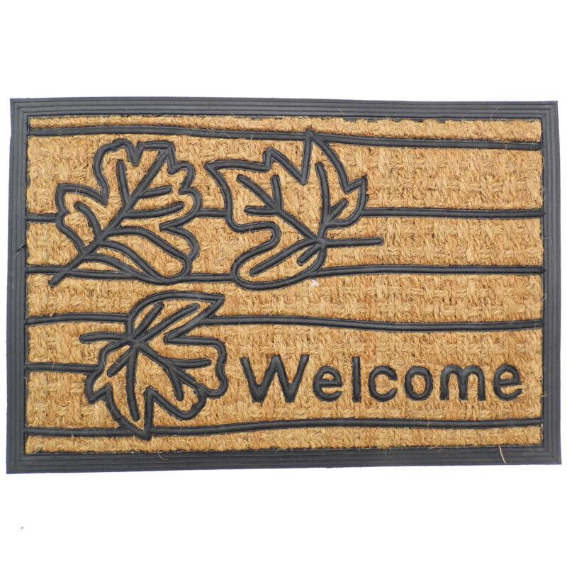 Gumis kókusz lábtörlő 40x60 cm - Welcome levél mintával
