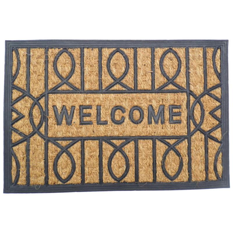 Gumis kókusz lábtörlő 40x60 cm - Welcome mintával