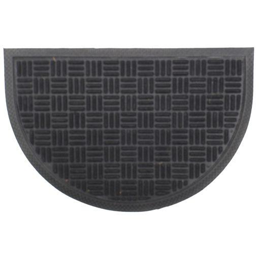 Gumis textil félkör lábtörlő 40x60 cm - Fekete színben rácsos mintával