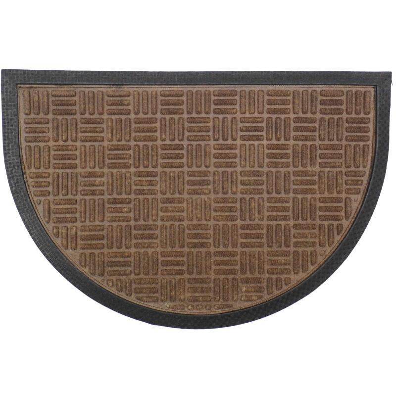 Gumis textil félkör lábtörlő 40x60 cm - Sötétbarna színben rácsos mintával