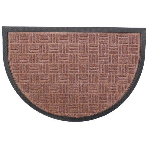 Gumis textil félkör lábtörlő 40x60 cm - Világosbarna színben rácsos mintával