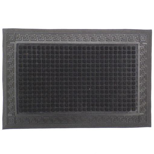 Gumis textil lábtörlő 40x60 cm - Fekete színben görög mintával