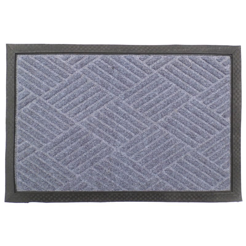 Gumis textil lábtörlő 40x60 cm - Világosszürke színben rácsos mintával