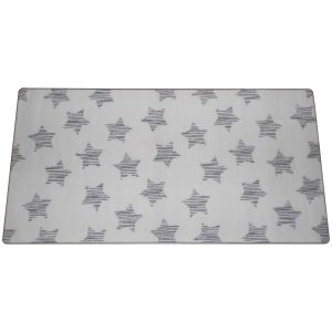 Szegett szőnyeg 100x200 cm világos szürke színben csillag mintával