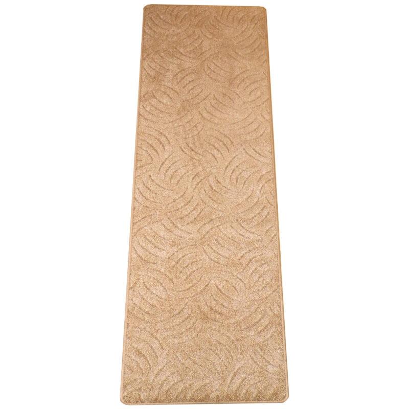 Szegett szőnyeg 70x200 cm beige színben karmolt mintával kiterítve