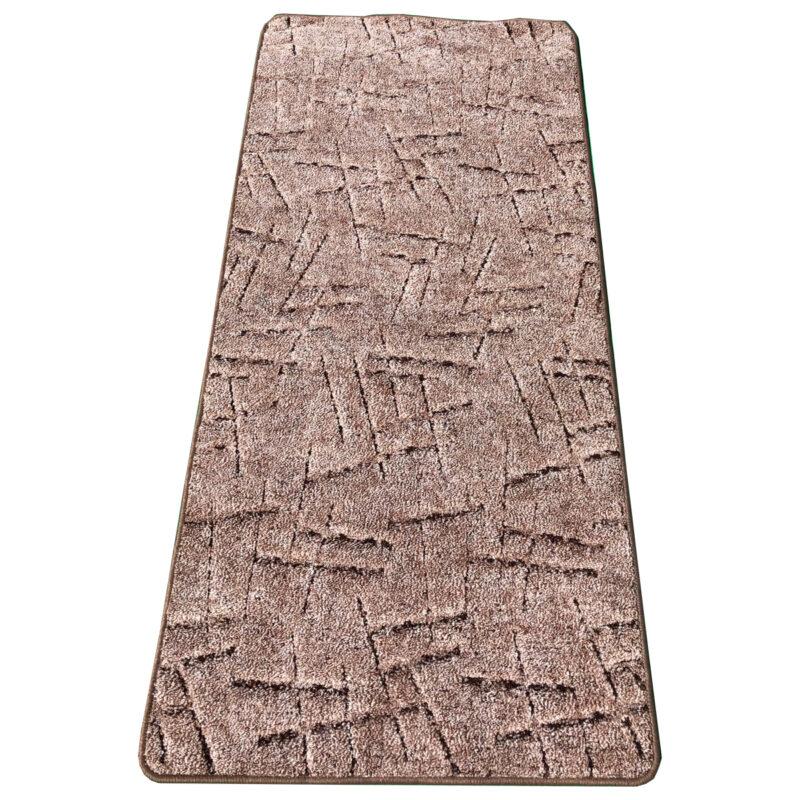 Szegett szőnyeg 70x150 cm - Barna színben vonal mintával