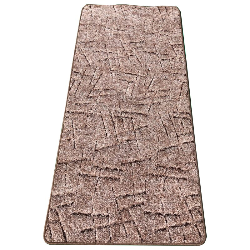 Szegett szőnyeg 70x200 cm - Barna színben vonal mintával