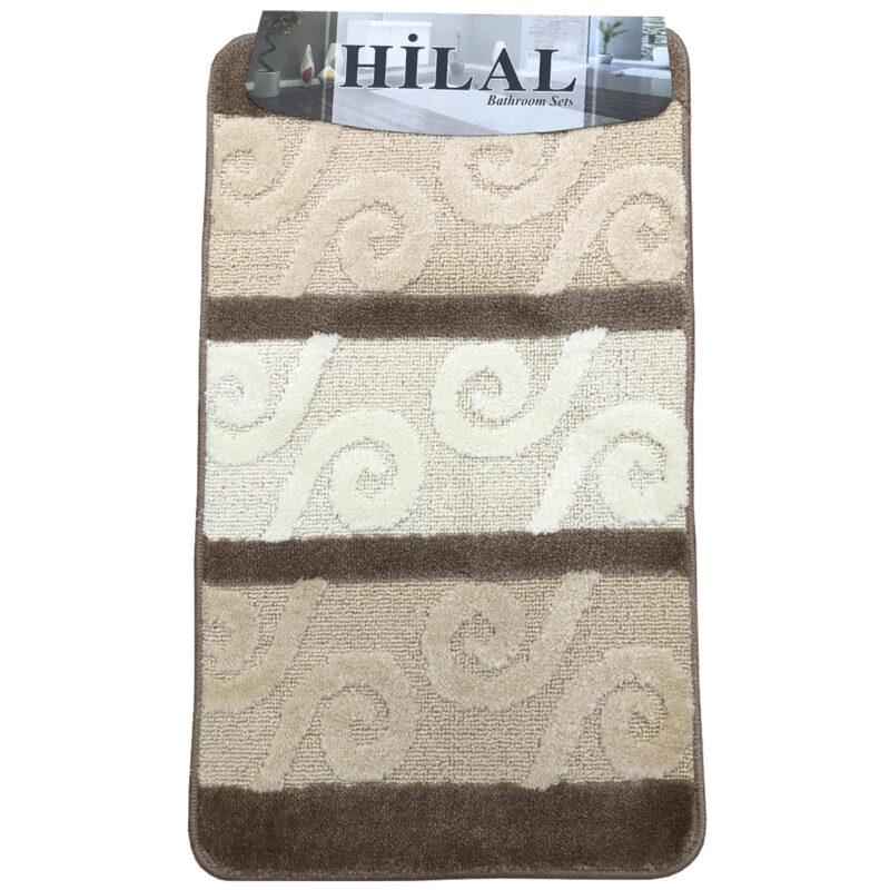 2 részes fürdőszoba szőnyeg barna-beige színben, görög inda mintával - elöl