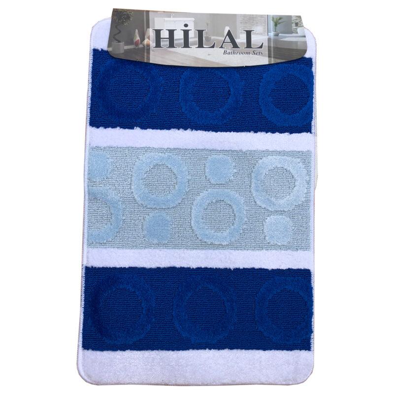 Fürdőszoba szőnyeg 2db-os kék-fehér színben, kör mintával - elöl