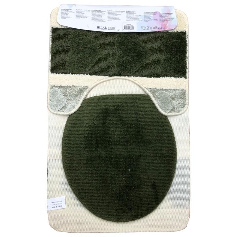 Fürdőszoba szőnyeg 3db-os zöld-fehér színben, szív mintával - hátul