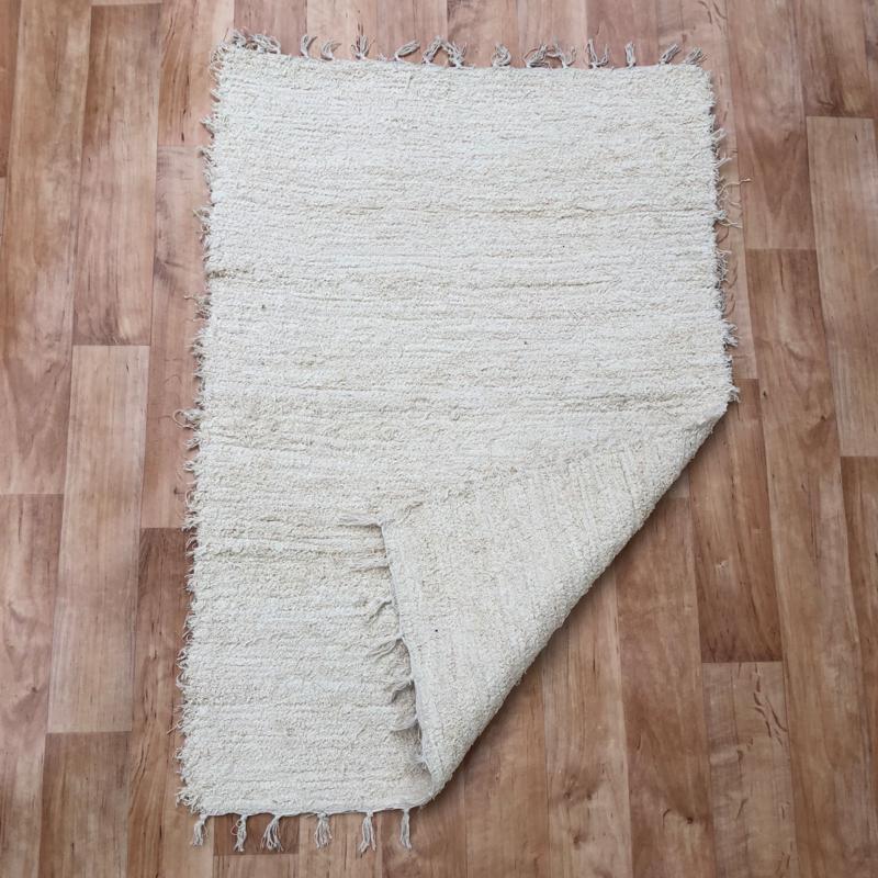 Beige rongyszőnyeg 70x100 cm - hátoldal