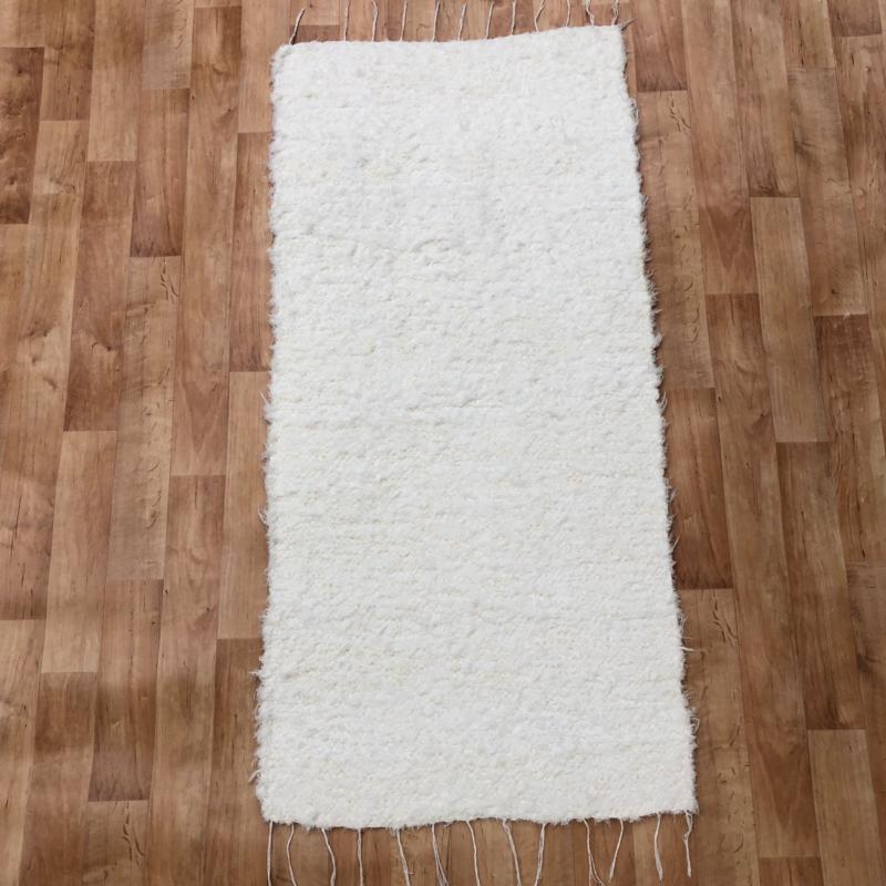 Fehér rongyszőnyeg 70x150 cm