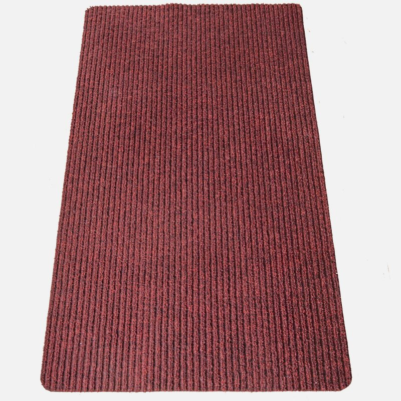 Gumis filc lábtörlő 70×120 cm – Bordó színben bordázott mintával - szürke