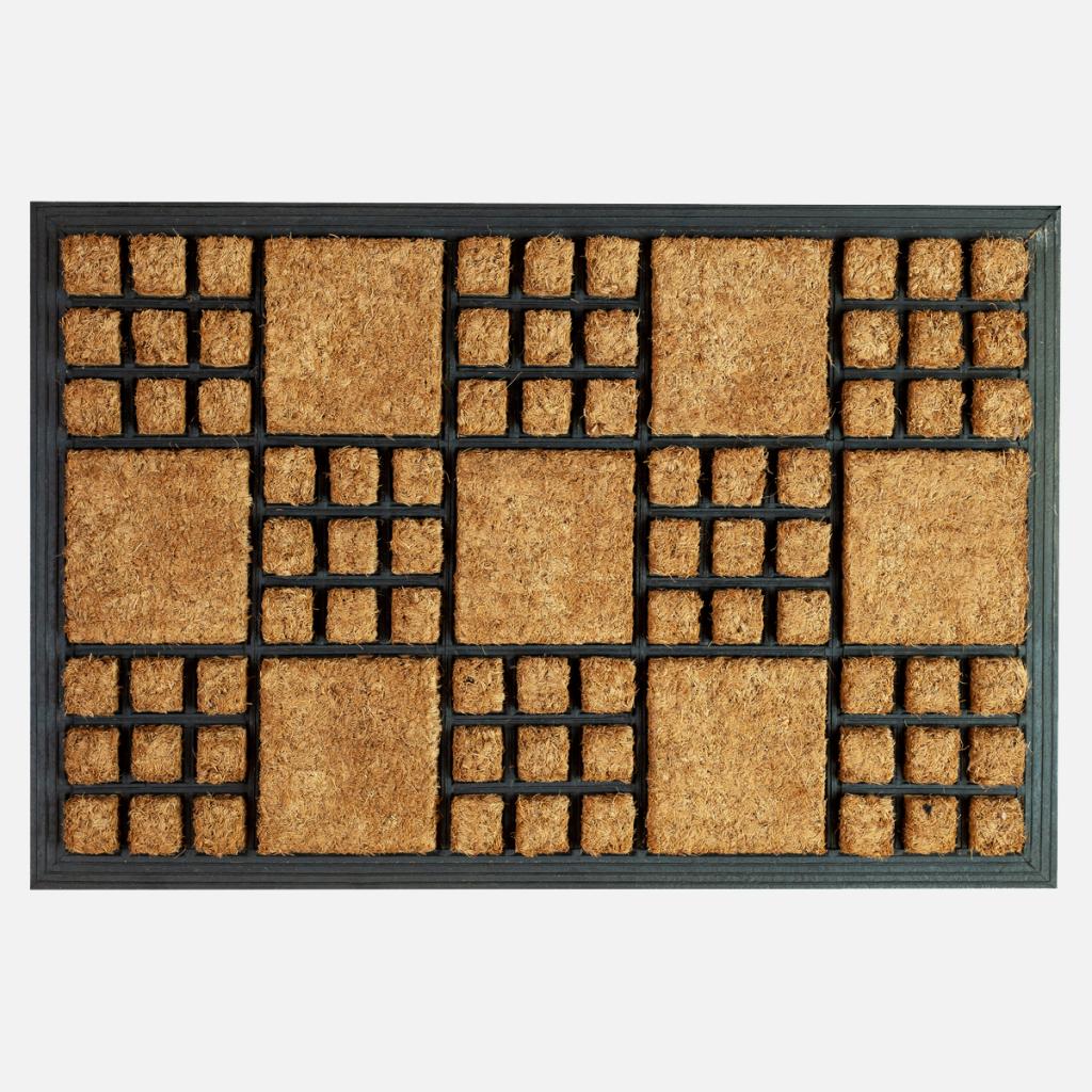 Vastag gumis kókusz lábtörlő 40×60 cm – Négyzet mintával - teljes 2