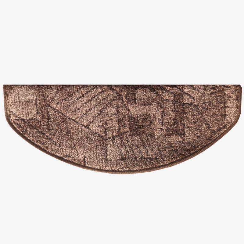 Lépcsőszőnyeg 65x24 cm - Barna színben kockás mintával - hátulról