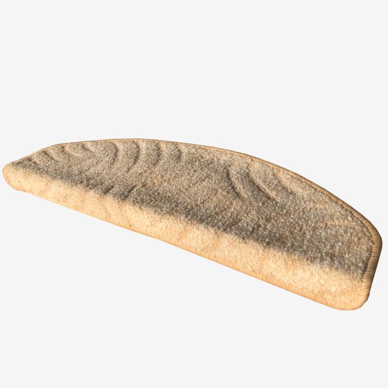 Lépcsőszőnyeg 65x24 cm - Világos beige színben karmolt mintával - oldalról