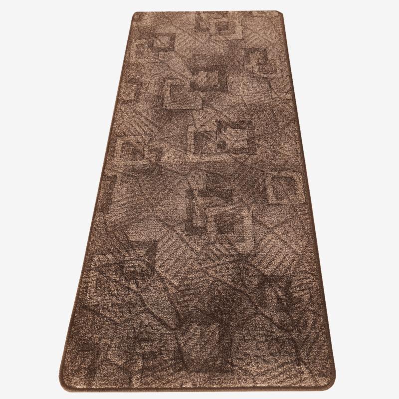 Szegett szőnyeg - Barna színben kocka mintával