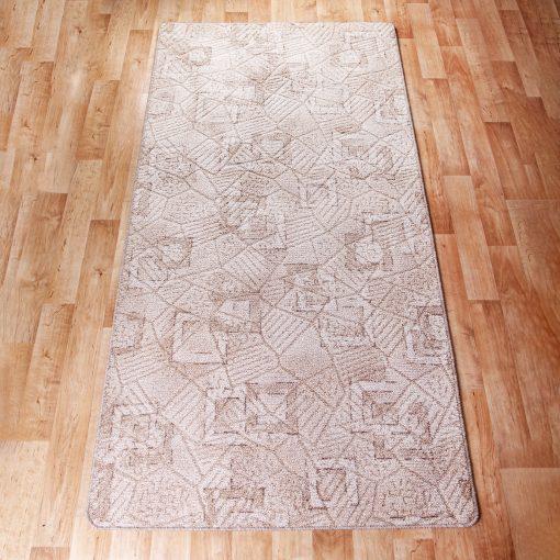 Szegett szőnyeg 100x200 cm - Beige színben kocka mintával