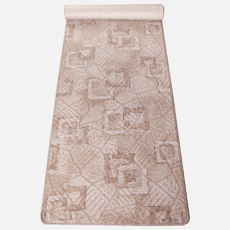 Szegett szőnyeg - Beige színben kocka mintával