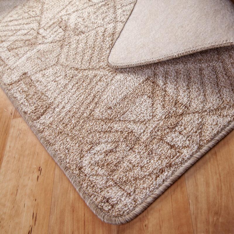 Szegett szőnyeg - Beige színben kocka mintával - hátoldal
