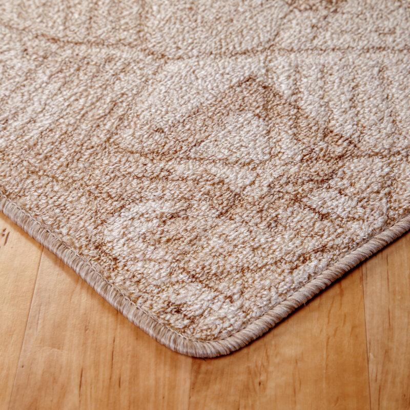 Szegett szőnyeg - Beige színben kocka mintával - sarok