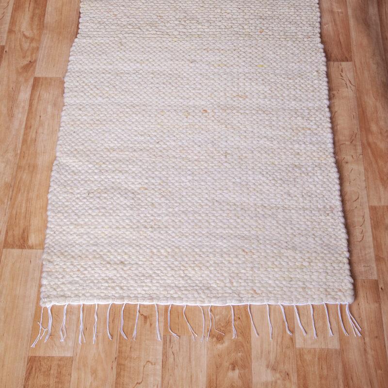 Gyapjú szőnyeg 70×200 cm – Natúr színben - közeli