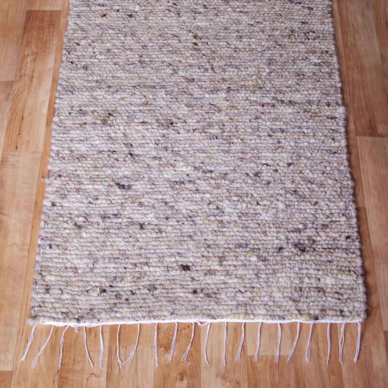 Gyapjú szőnyeg 70×200 cm – Világos beige színben barna melírozással - közeli