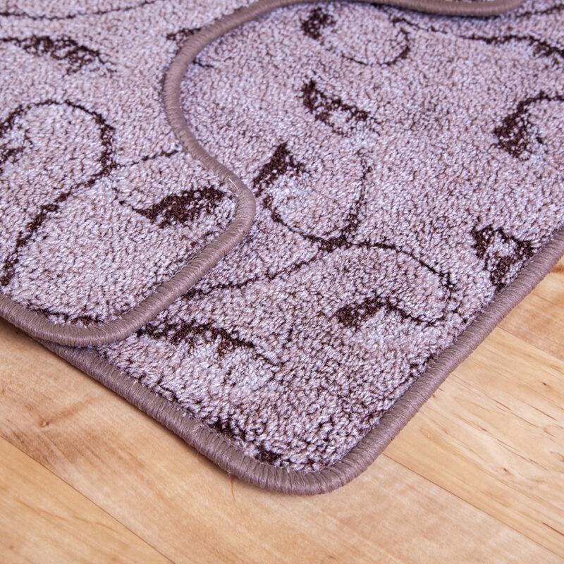 2 részes fürdőszoba szőnyeg - Barna színben inda mintával