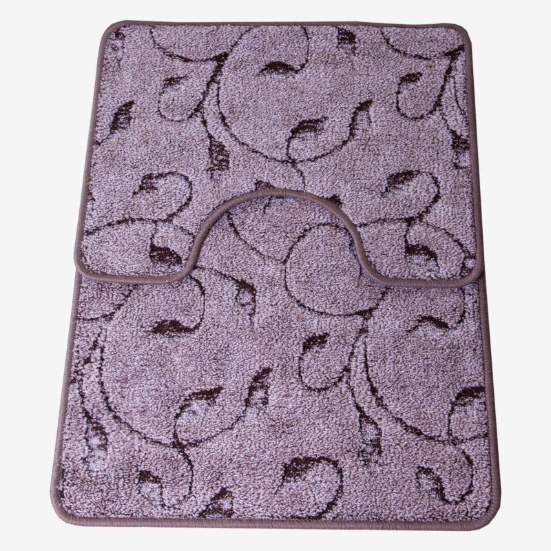 2 részes fürdőszoba szőnyeg - Barna színben inda mintával - teljes