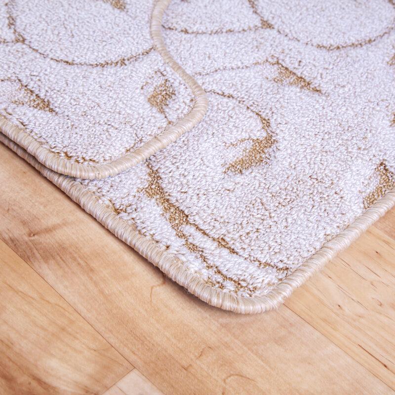 2 részes fürdőszoba szőnyeg - Beige színben inda mintával