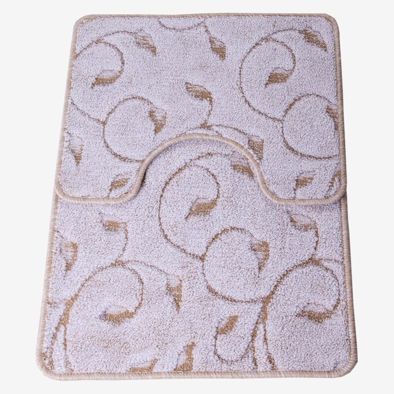 2 részes fürdőszoba szőnyeg - Beige színben inda mintával - teljes