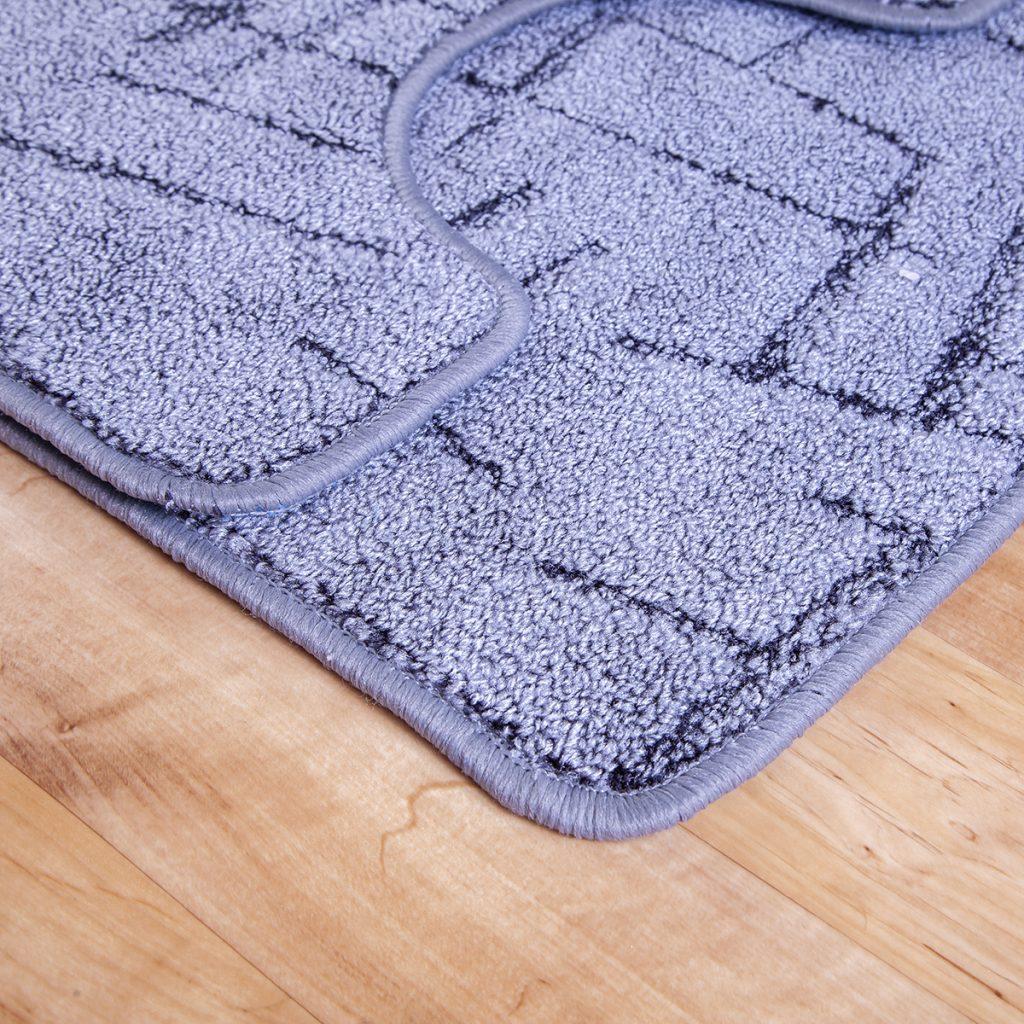 2 részes fürdőszoba szőnyeg - Szürke színben vonal mintával