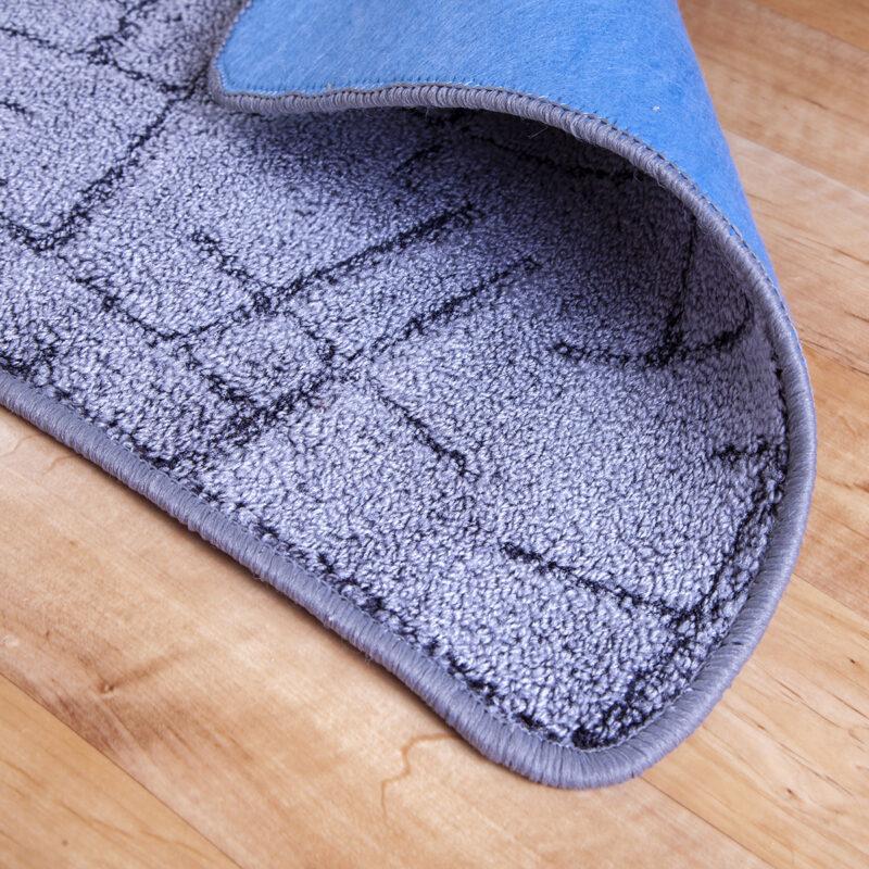 2 részes fürdőszoba szőnyeg - Szürke színben vonal mintával - hátoldal