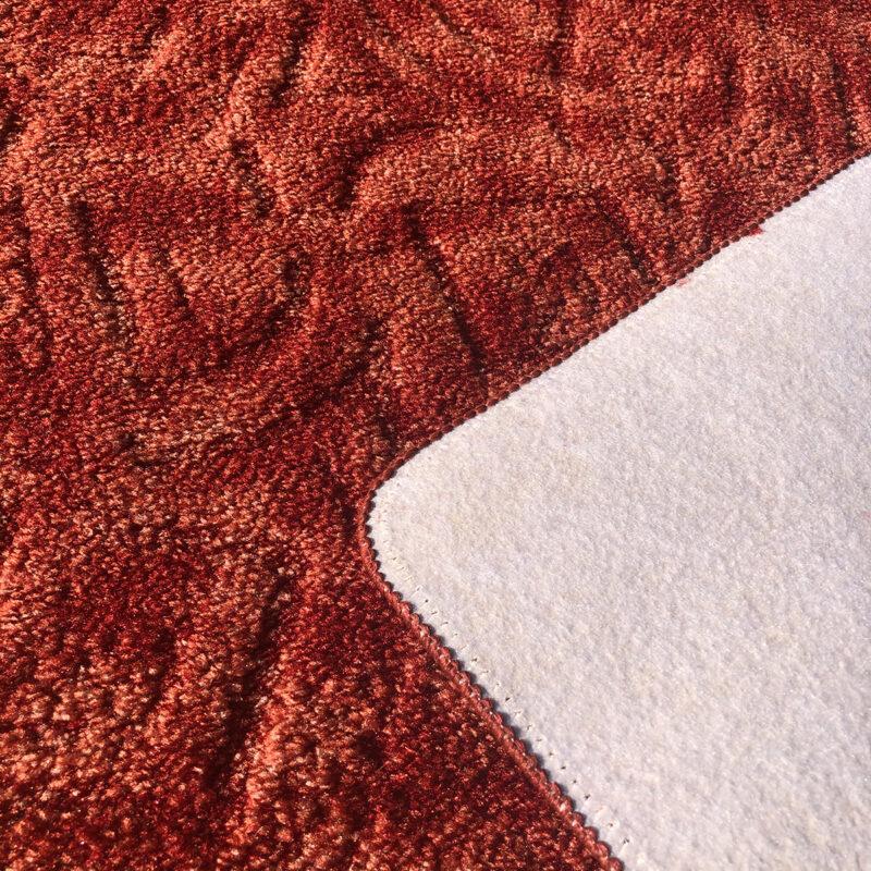Szegett szőnyeg - Korallvörös színben absztrakt mintával - hátoldal