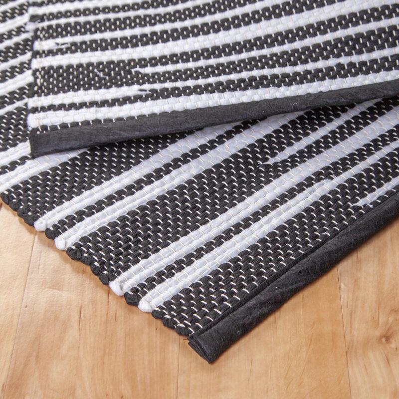 Fekete-fehér rongyszőnyeg - hátoldal